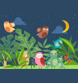cute cartoon owls in night fairy tale forest with vector image