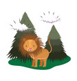 cute lion in the landscape vector image