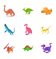 different dinosaur icons set cartoon style vector image vector image