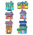 doodle of house colorful set vector image vector image