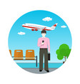 european man with a briefcase at the airport vector image vector image