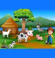 farmer activity on the nature with animal farm vector image