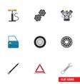 flat icon service set of warning wheel pump belt vector image vector image