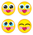 four smiling faces vector image