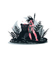 girl warrior with spear vector image vector image
