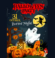 halloween ghost poster for horror party design vector image vector image