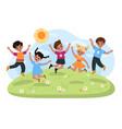 happy jumping kids joyful school cute children vector image