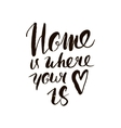 Home is where your heart is Inspirational quote vector image vector image