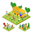isometric outdoor activity camping and barbeque vector image vector image