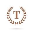 Letter T laurel wreath logo icon design template vector image vector image