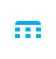 logo letter m blue stripes vector image vector image