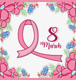 march 8 celebration with pink ribbon women symbol vector image vector image