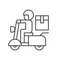 messenger sending parcel box by motorbike line vector image