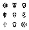 Military shieldd icons set simple style vector image vector image