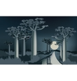 Night in the African baobab forest near the river vector image