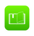 open book icon digital green vector image