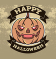 Pumpkin Head Halloween Badge vector image