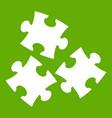 puzzle icon green vector image vector image