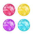 realistic detailed disco ball set vector image vector image