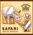 rhino hunting - banner with african safari animal vector image