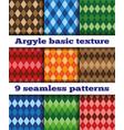 set argyle seamless texture vector image vector image