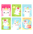 set birthday banners with cute rabbit and vector image vector image