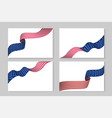 set flying ribbons in national usa flag color vector image vector image