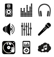 Set of icons of Music theme Simple black style vector image