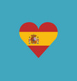 spain flag icon in a heart shape in flat design vector image