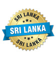 Sri Lanka round golden badge with blue ribbon vector image vector image