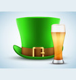 st patrick hat with beer glass vector image