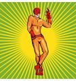 superhero fire man vector image vector image