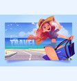 travel banner with girl on vacation at sea shore vector image vector image
