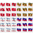 Tunisia Uganda Crimea Haiti Set of 36 flags of the vector image