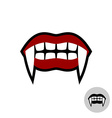 Vampire dracula teeth Red lips mouth with white vector image vector image