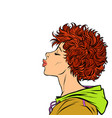woman kiss profile view girls 80s vector image