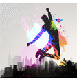 Young man jumping over city vector | Price: 1 Credit (USD $1)