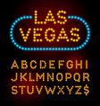Light bulb font alphabet with casino effect vector image