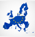 map of european union and eu flag vector image
