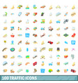100 traffic icons set cartoon style vector image