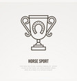 polo champion trophy linear icon golden cup with vector image