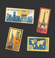 set of postage stamps vector image