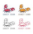 abstract icon design template crazy crab vector image