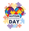 autism awareness day puzzle shape heart health vector image vector image