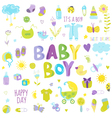 Baby Boy Design Elements - for design and scrap vector image vector image