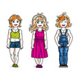 beautiful little girls cute children standing in vector image