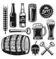 beer and brewery set of black objects vector image