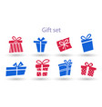 big collections red and blue gifts box present vector image vector image