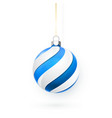 blue christmas ball xmas glass ball on white vector image vector image