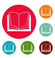 book dictionary icons circle set vector image vector image